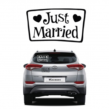 מדבקה לרכב בחיתוך צורני - JUST MARRIED