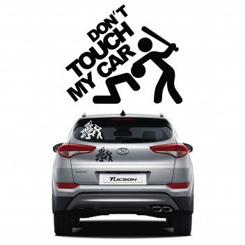 מדבקה לרכב בחיתוך צורני - don't touch my car